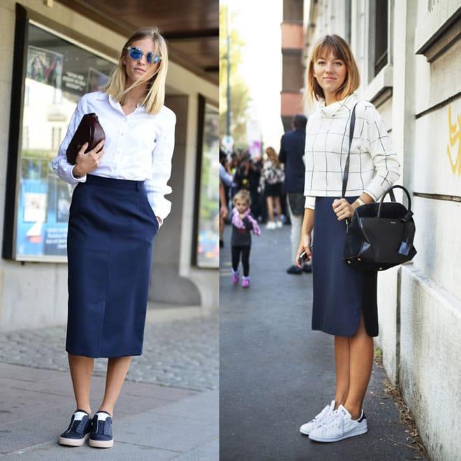 Como usar tênis no ambiente de trabalho de forma cool e elegante - saia