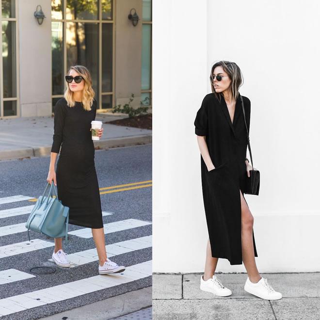 Como usar tênis no ambiente de trabalho de forma cool e elegante - vestido