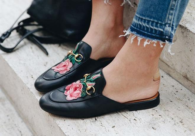 Moda com roupas bordadas - sapato