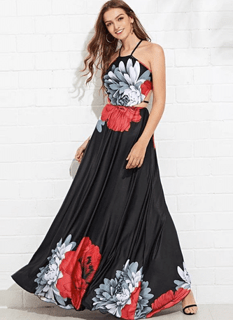 Vestido Longo Estampado Floral Fenda na Cintura