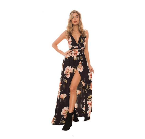 Vestido Longo Floral Cintura de Amarrar Fenda Costas Nuas