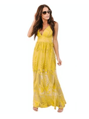 Vestido Longo Saia Renda Transparente