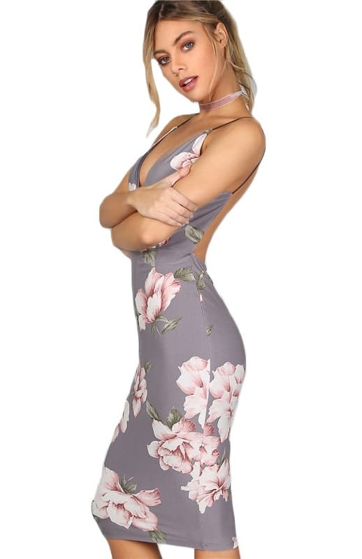 Vestido Tubinho de Festa Floral costas nuas midi