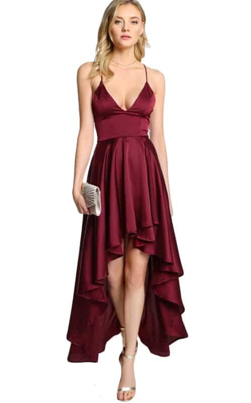 vestido de festa de cetim de seda vinho assimétrico costas trancadas