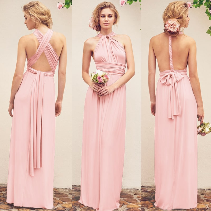 vestido de festa longo de amarrar rosa claro