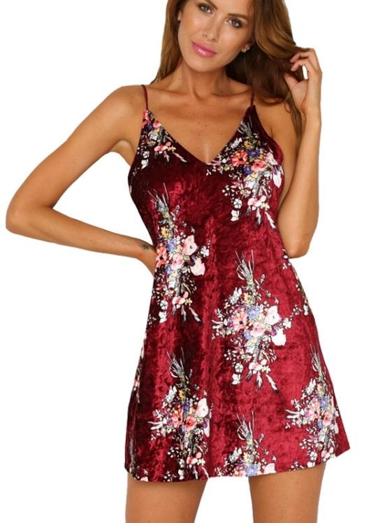 vestido de veludo slip dress estampa floral vermelho