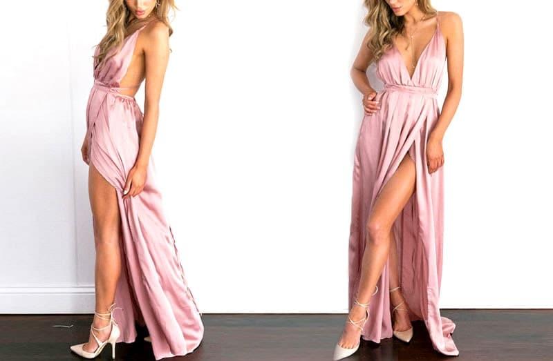 vestido longo de festa de cetim cintura de amarrar rosa