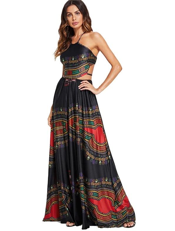 vestido longo estampa ornamentada fendas cintura preto