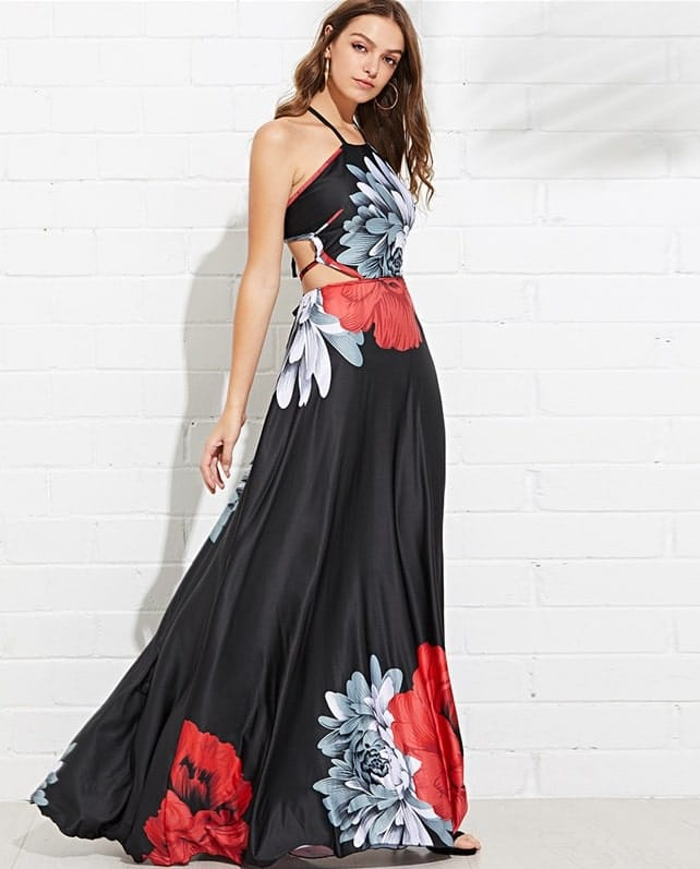 vestido longo estampa ornamentada fendas na cintura preto