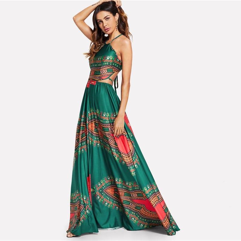 vestido longo estampa ornamentada fendas na cintura verde