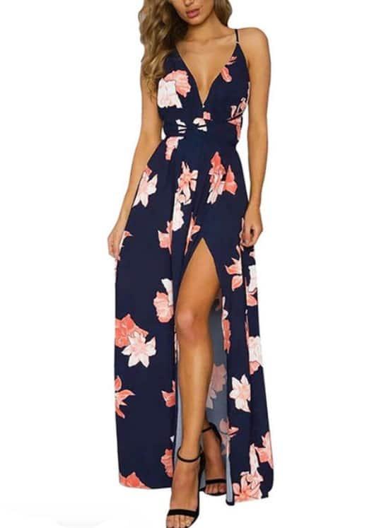 vestido longo floral cintura de amarrar marinho lilias