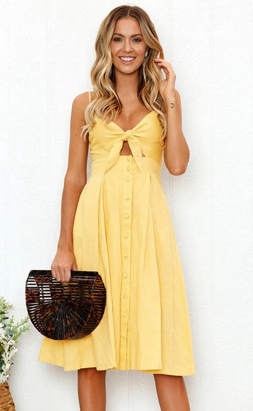 vestido midi casual decote com laço amarelo