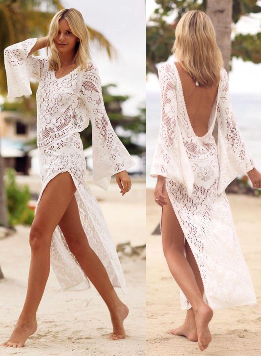 vestido renda longo saída de praia costas decotadas flare