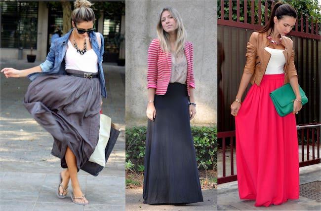 mulheres com saia longa