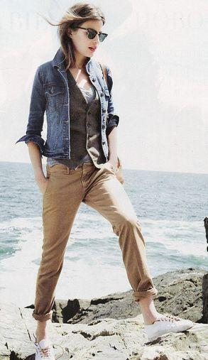 calça bege jeans