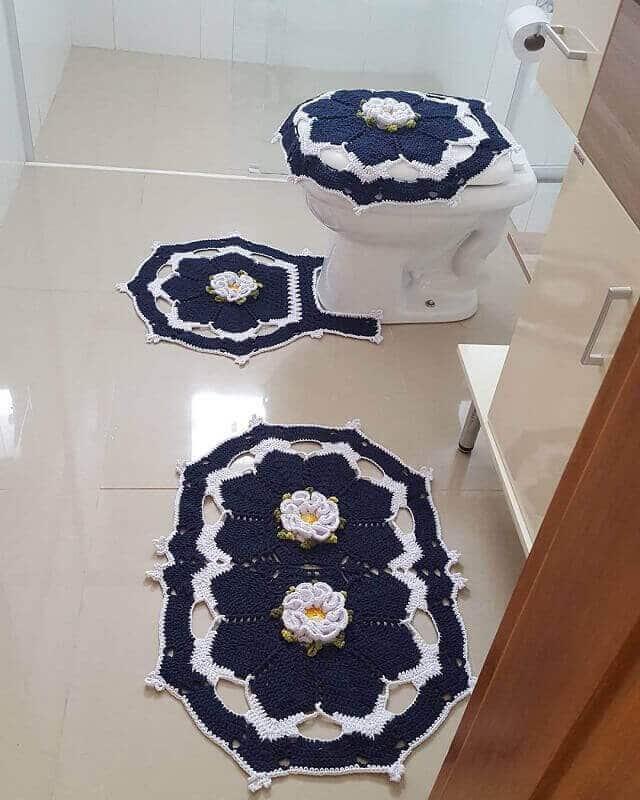 crochê tapete para banheiro
