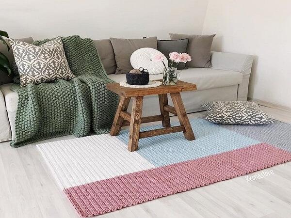 sala feita de crochê