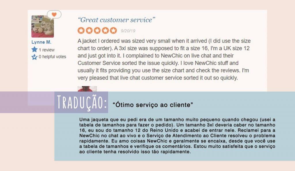NewChic atendimento ao cliente.